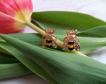 Stud-Earring Pair Bumble Bees Sparkly