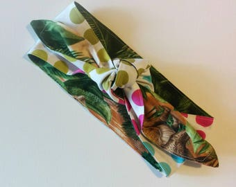 reversible dinosaurs vintage style headwrap one size fits most