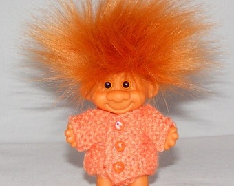 "3 1/4"" Unbranded Troll Doll, New Eyes, New Rust Hair, Orange Sweater, Pants"