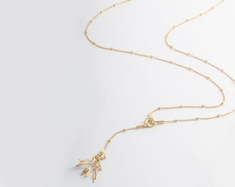 Gold Leaf Necklace, Leaf Pendant Necklace, Gold Lariat Necklace, Long Gold Necklace, Gold Y Necklace, Woodland Necklace, Dainty Necklace