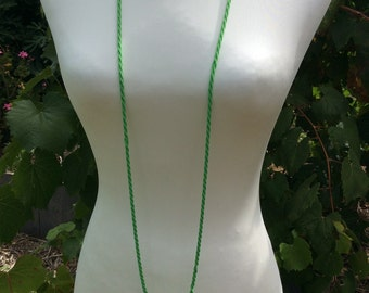 Green Glass Seed Bead Multi Strand Twist Necklace Long Flapper Length