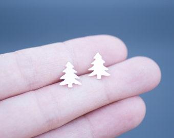 Little Christmas Tree Stud Earrings Handmade from Sterling Silver
