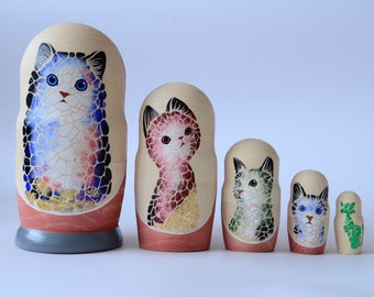 Hand Painted Russian Nesting Doll Matryoshka Cuty Cats, Kittens, Cute kittens, Made In Russia, Free Shipping