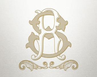 Monogram Scroll Design  - Monroe Scroll -  Scroll Design - Digital