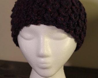 Purple Crocheted Ear Warmer Headband