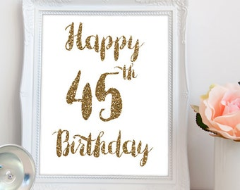 Happy 45th Birthday PRINTABLE, Happy 45th printable, printable 45th birthday sign, 45th birthday party, 45th party decor, INSTANT DOWNLOAD