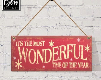 It's the most wonderful time of the year sign plaque christmas  red