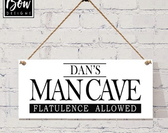 PERSONALISED MANCAVE flatulance allowed dad mancave sign gift plaque, boyfriend sign, boys room sign
