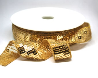 Gold Square Cut Sequin Trim with Soft Tulle Backing 22mm Wide