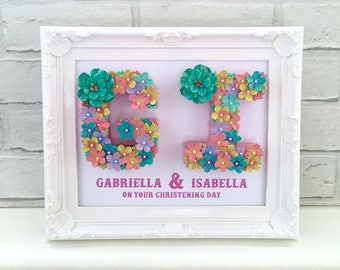 Christening name gift, Floral frame, Floral letter, Gift for twins, Unique gift for sisters, Personalised name frame gift, Baby shower gift