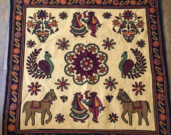 Vintage Bohemian Tan and Maroon Tablecloth Indian Style With Horses and Birds and Border With Mirrors