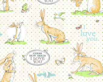 Cream Guess How Much I Love You on Dots from the Guess How Much I Love You 3 Collection by Clothworks