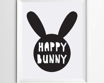 Happy bunny nursery print art - kids room decor - playroom decor prints - printable wall art - playroom wall art - black and white printable