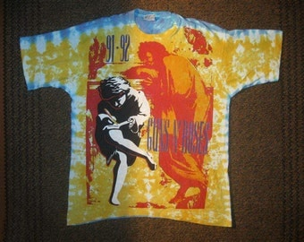 Guns N Roses T-Shirt 1991 Tour authentic Tie Dye Use Your Illusion 1991-92 Vintage Guns 'N Roses G&R All Over Print Heavy Metal Hard Rock XL