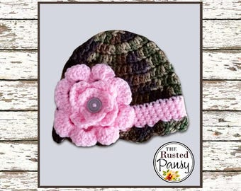 Crochet Baby Beanie Camo with Flower Size 3-6 Months