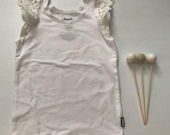 2- Flutter Sleeve Singlet- White