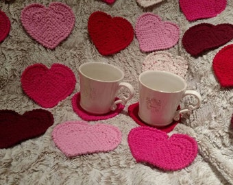 handmade heart coasters