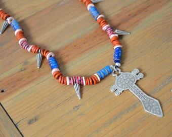 African Tribal Saharan Tuareg Cross Sword Necklace, Long Greek Ceramic beaded Necklace, African Jewelry, Tribal Amulet Beaded Necklace