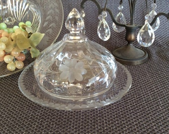 Antique EAPG Victorian butter dish King crown dome shape dish