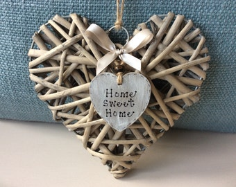 Wicker 'Home Sweet Home' Heart - Wicker Heart, Housewarming Gift, New Home Gift.