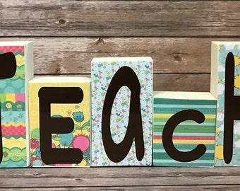 Teacher Decorations, Teacher Block Set, Teacher, Teacher Gift, Teacher Appreciation, Classroom Decor, Classroom Decoration, Classroom, Teach