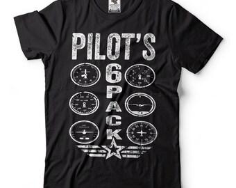 Gift For Pilot Tee Shirt Funny Aviator T-shirt Pilot's 6 Pack T-shirt Pilot T-shirt