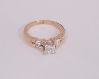 14K Yellow Gold Princess Cut Diamond Engagement Ring 3/4 ct. tw., size 6.25