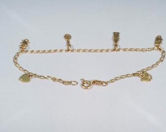 "18K Yellow Gold Miniature Charm Bracelet, 6.5"" Long"
