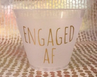 "Bachelorette Engagement Party Cups ""Engaged Af"" (12)"