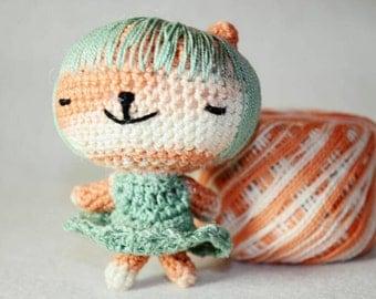 Amigurumi doll panda girl/miniature doll/art amigurumi/
