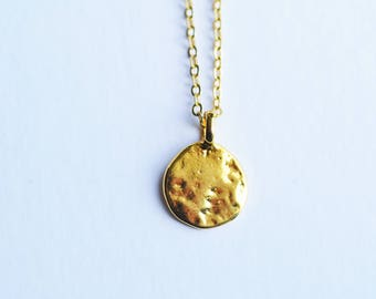 Minimalist Necklace/ Dainy Gold necklace/ Gold necklace/ Disc necklace/ Coin necklace/Gold necklace