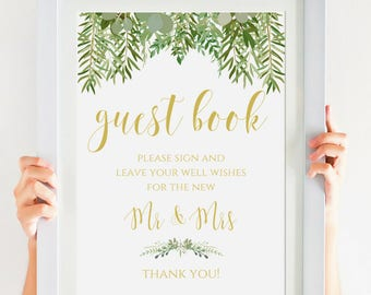 Rustic Wedding Guest Book Sign, Greenery Wedding, Instant Download, Printable Wedding Sign, Personalized, Please Sign Our Guest Book