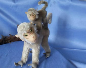 2 x Vintage Steiff baboons COCO, 2 sizes, good condition