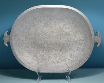 Vintage Guardian Service Hammered Aluminum Large Oval Platter Tray Roaster Pan Baking Serving Cookware Mid Century Dutch Oven Hand Wrought
