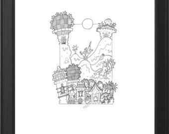 Detailed Original Handmade Fantasy Illustration (The Bone Waste)