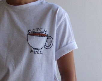 Embroidery Art White Cotton TShirt Coffee Cup