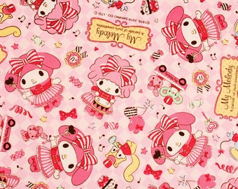 """My Melody Character Oxford Fabric made in Japan FQ 45cm by 53cm or 18"""" by 21"""""""