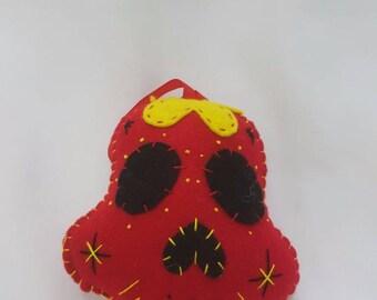 Red felt sugar skull