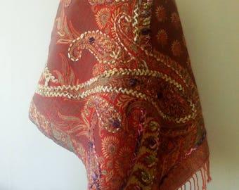 India Wool Shawl Handmade Emboridered