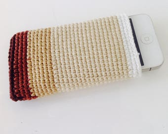 Brown/ Neutral Crochet iPhone 5SE Cover, iPhone 4/5/ 5SE blue cover, IPHONE 5SE sleeve, Iphone 5 Sleeve, Iphone 4/5 crochet sleeve