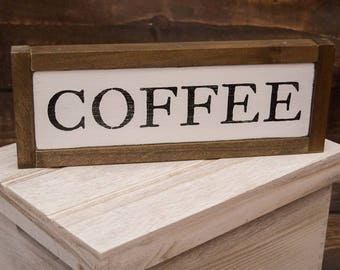 Wood Coffee Sign | Country Decor | Coffee Wall Art | Rustic Decor | Framed Coffee Sign | Coffee Sign | Farmhouse Wall Art | Kichen Decor
