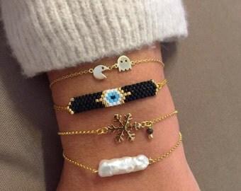 Pac Man Bracelet, Evil Eye Bracelet, White Pearl Bracelet, Gold 24k Bracelets, Snowflake Bracelet, Evil Eye Jewelry, Pearl Jewelry.