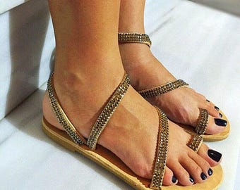 Gold Sandals, Flat Sandals, Gladiator Sandals, Leather Sandals, Greek Sandals, Summer Shoes, Made in Greece by Christina Christi Jewels.