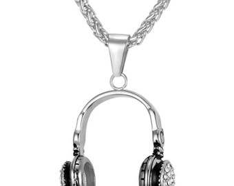 Headphones Necklace Silver Plated Music DJ Pendant - Elegant Gift Box