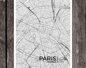 "Paris City Map Print - Frame-able Art Decor (13"" x 19"" and 8"" x 10"" available)"