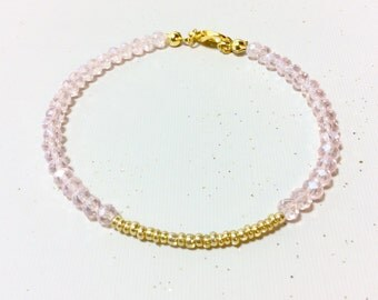 Pink And Gold, Gold Jewelry, Gold Bracelet, Pink Jewelry, Pink Bracelet, Seed Bead Bracelet, Stackable Bracelet, Stack Bracelet, Stacking