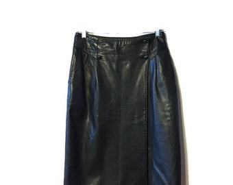Alfred Sung Leather Skirt - Pencil Skirt - Long Leather Skirt - Black Leather - Genuine Leather