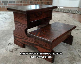 Large Step Stool Wood Step Stool Kitchen Step Stool Bathroom Step Stool : 2 step wooden step stool - islam-shia.org