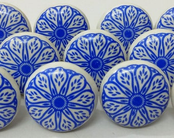 Blue and White Ceramic Knobs Ceramic Door Knobs Kitchen Cabinet Knobs Drawer Pulls