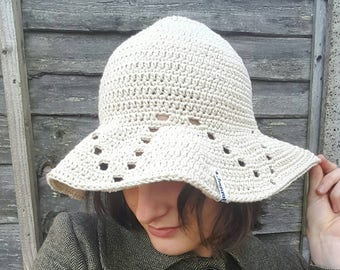 Floppy brim hat / crochet floppy hat / crochet floppy brim hat / floppy summer hat / ecru summer hat / wide brim summer hat / crochet sunhat